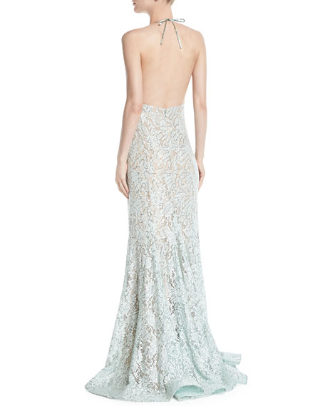 Lace Halter Gown w/ High Slit
