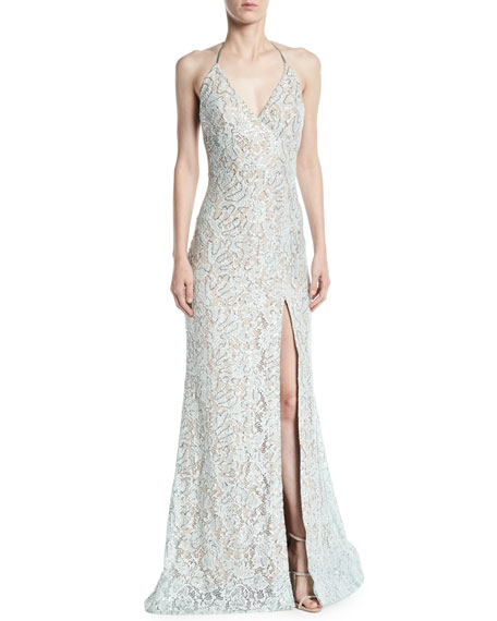 Jovani Lace Halter Gown w/ High Slit