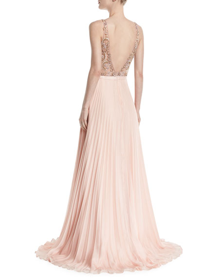 Sleeveless Gown w/ Beaded Bodice & Pleated Skirt