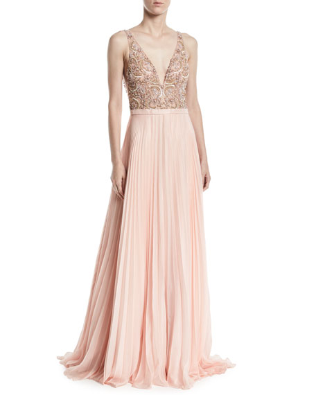 Jovani Sleeveless Gown w/ Beaded Bodice & Pleated