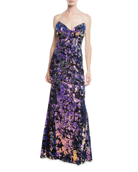 Jovani Strapless Gown w/ Allover Sequins