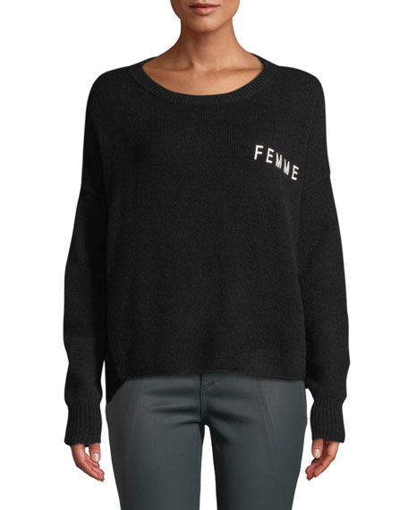 Femme Crop Graphic Cashmere Sweater in Black White