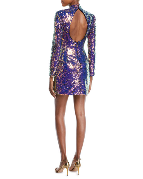 Long-Sleeve Sequin Short Cocktail Dress w/ Cutout Back