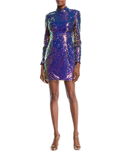 Long-Sleeve Sequin Short Cocktail Dress w/ Cutout Back