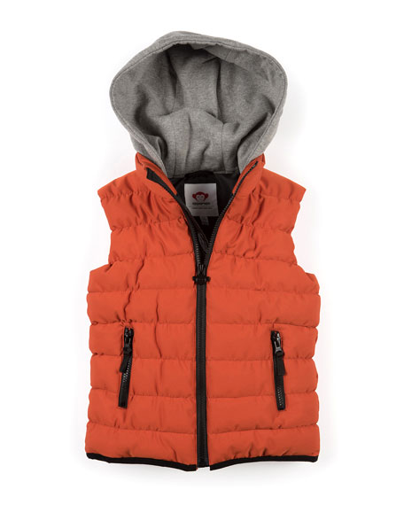 Apex Contrast-Hood Puffer Vest, Size 2-10