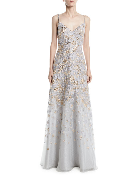 Floral Embroidered Gown w/ Open Back