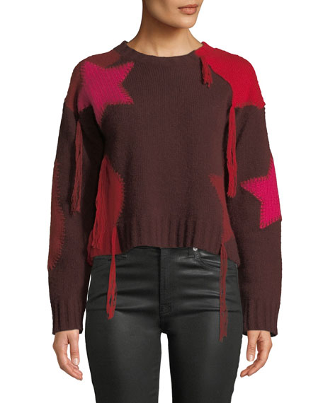 360 Sweater JULITA PATCHWORK FRINGE CASHMERE SWEATER