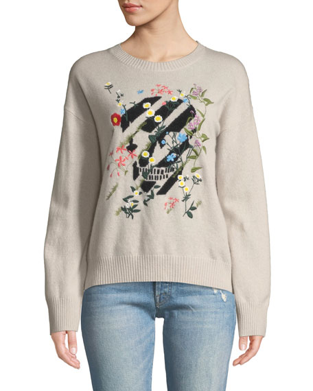 360 Sweater AJI FLORAL-EMBROIDERED SKULL CREWNECK CASHMERE PULLOVER SWEATER