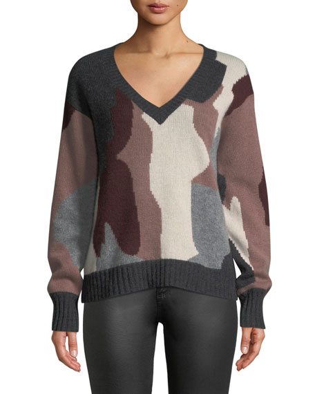 360 Sweater CAYENNE V-NECK CAMO SKULL CASHMERE SWEATER