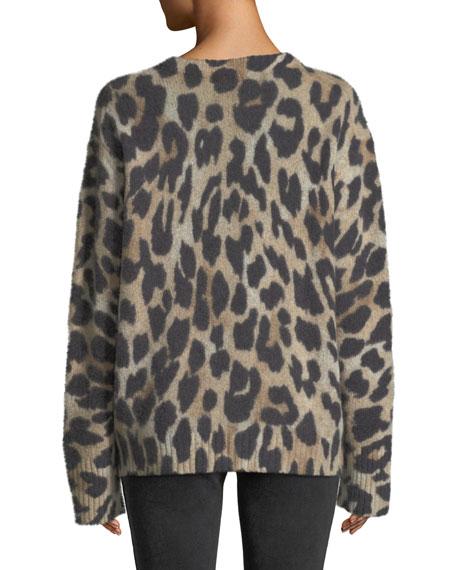 Geraldine V-Neck Long-Sleeve Leopard-Intarsia Cashmere Sweater