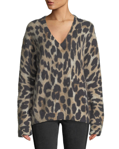 360 Sweater GERALDINE V-NECK LONG-SLEEVE LEOPARD-INTARSIA CASHMERE SWEATER