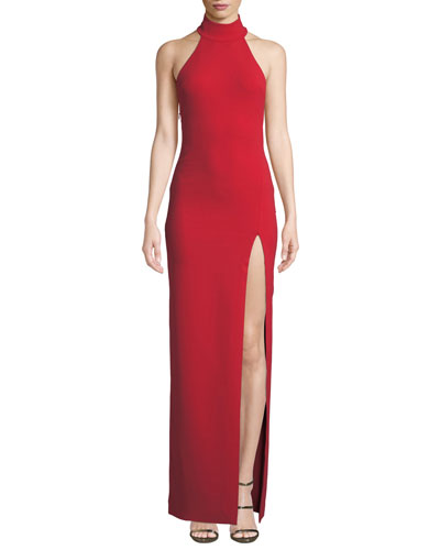 Zadid High-Neck Halter Front-Split Gown