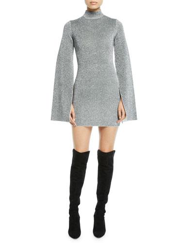 Alula High-Neck Metallic Long-Sleeve Cocktail Dress
