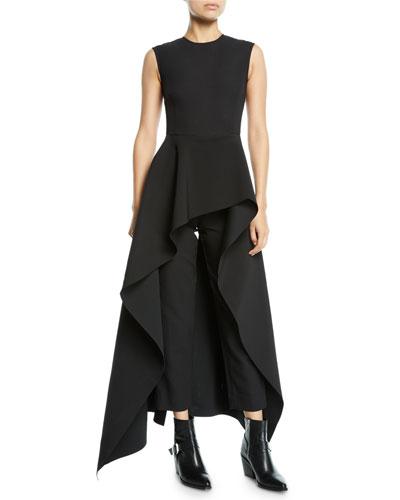 Soraya Sleeveless Crepe Asymmetric Ruffle Jumpsuit