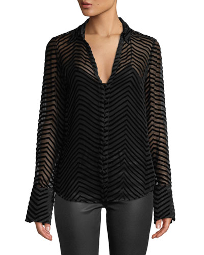 Toscani Velvet-Stripe Sheer Button-Front Top