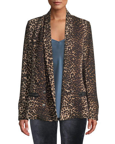 Karissa Double-Breasted Shawl-Collar Leopard-Print Blazer