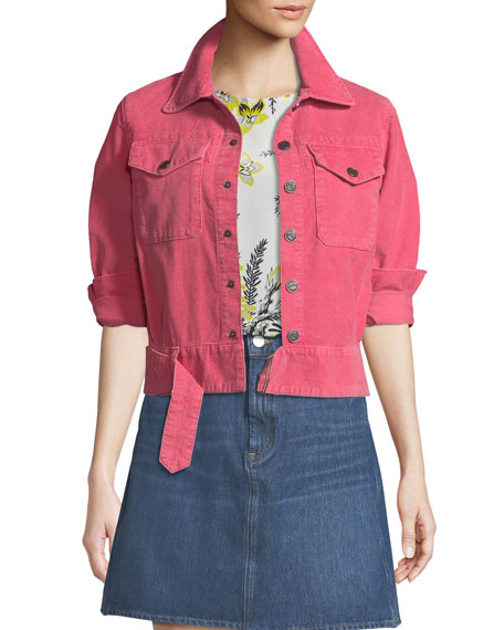 MiH Paradise Cropped Button-Front Corduroy Jacket
