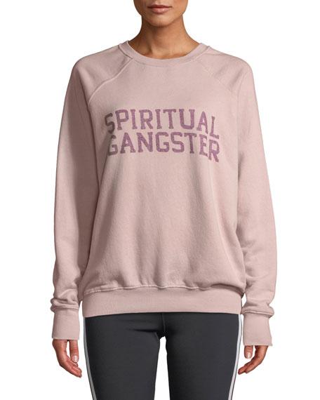 SPIRITUAL GANGSTER Varsity Classic Graphic Crewneck Sweatshirt in Pink