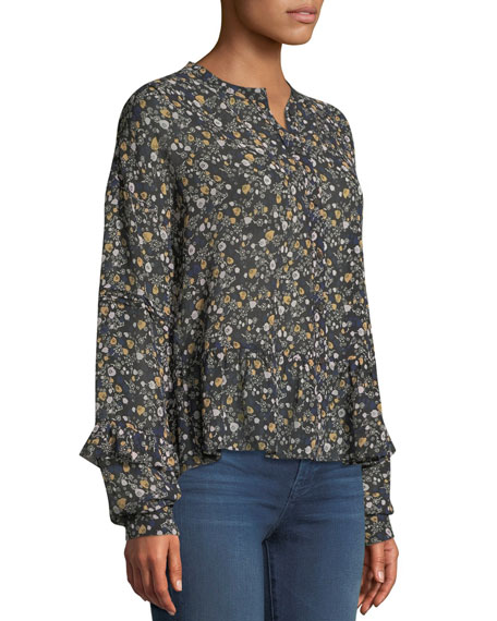 Ingrid Floral Button-Front Silk Peplum Top