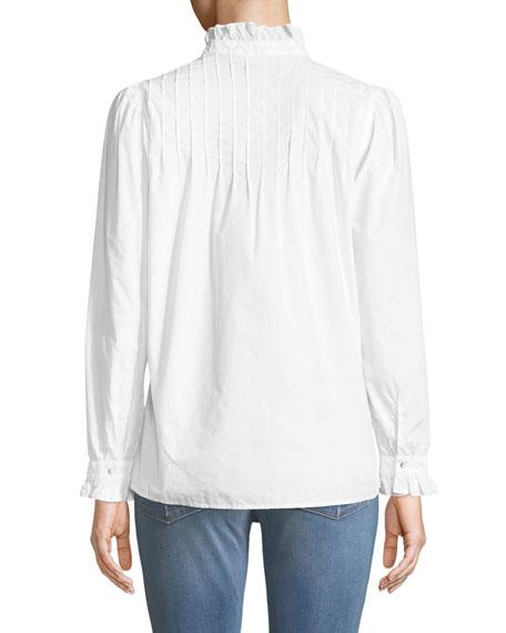 Danvers Pintuck High-Neck Cotton Blouse