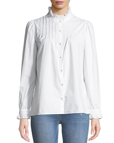 MiH Danvers Pintuck High-Neck Cotton Blouse