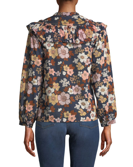 Hayden Floral-Print Button-Front Top