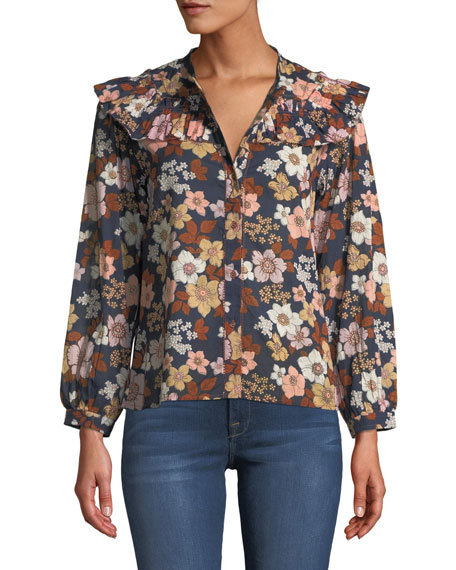 MiH Hayden Floral-Print Button-Front Top