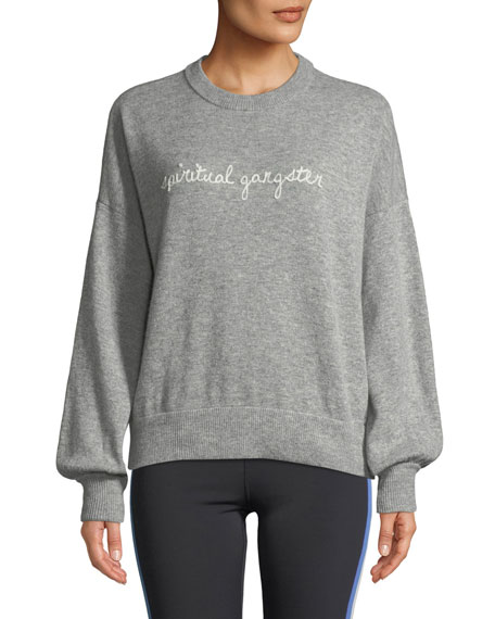 SPIRITUAL GANGSTER Signature Embroidered Balloon-Sleeve Sweater in Gray