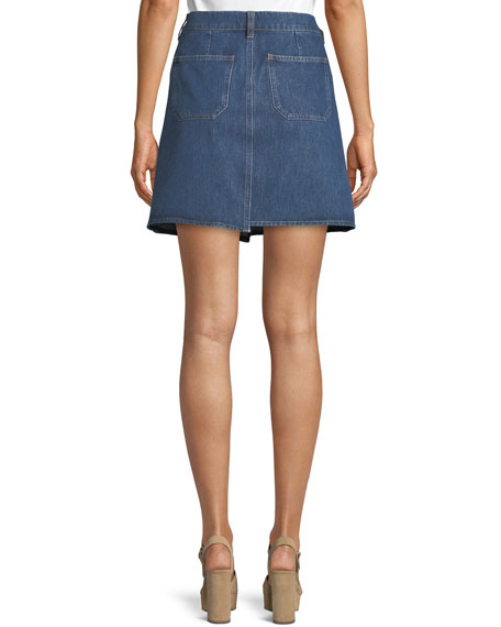 Cult Step-Hem Denim Short Skirt