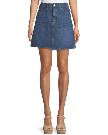MiH Cult Step-Hem Denim Short Skirt