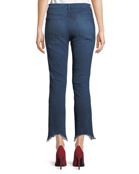 W3 Frayed Cropped Straight-Leg Jeans