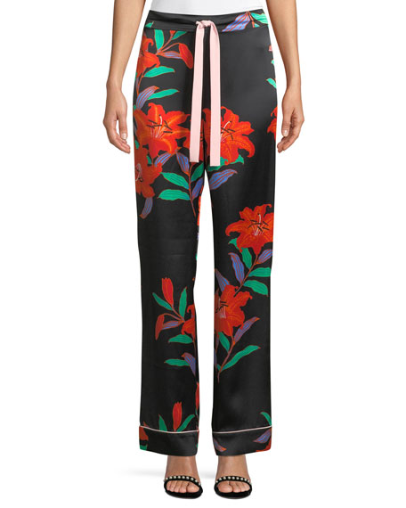 Wide-Leg Silk Pajama Pants