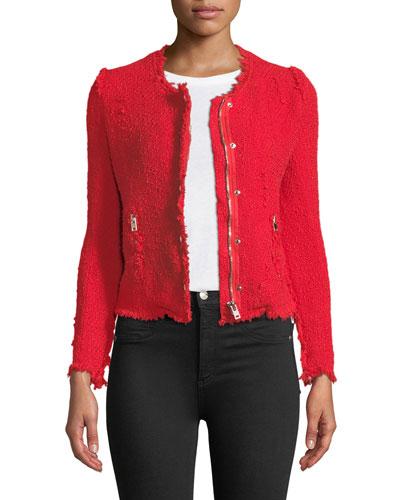 Agnette Zip-Front Frayed Jacket