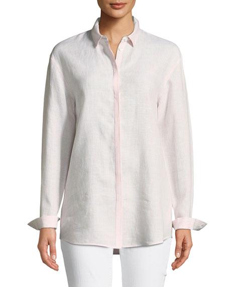 Sabira Long-Sleeve Virtuous Striped Linen Blouse