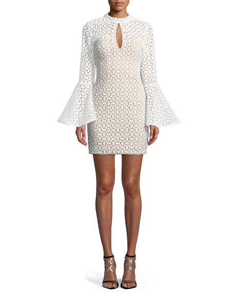 Jovani Lace Bell-Sleeve Keyhole Mini Dress