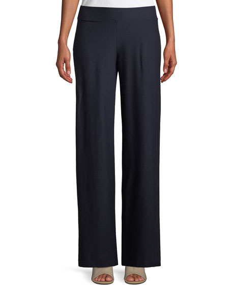 Eileen Fisher Washable Stretch Crepe Modern Wide-Leg Pants