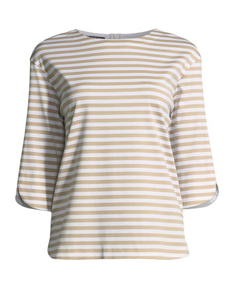 3/4-Sleeve Striped Jersey Tee