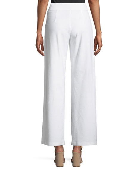 Washable Stretch Crepe Modern Wide-Leg Pants, Plus Size