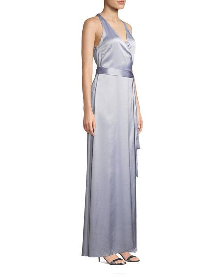 Sleeveless Floor-Length Wrap Dress