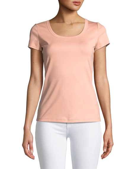Lafayette 148 New York Cotton-Stretch Basic Tee