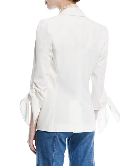 Corrine Single-Breasted Tie-Cuff Dickey Jacket