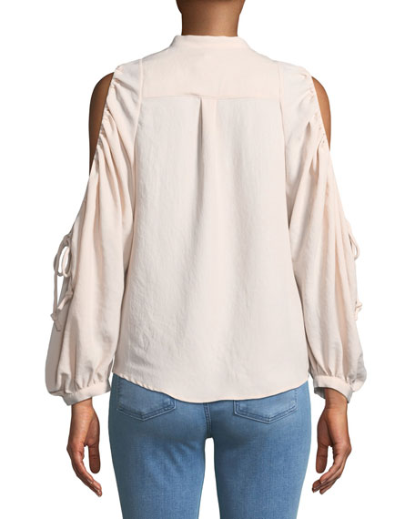 Button-Down Cold-Shoulder Top