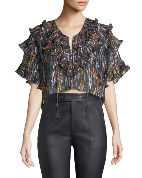 Marble Ruffle Cropped Blouse