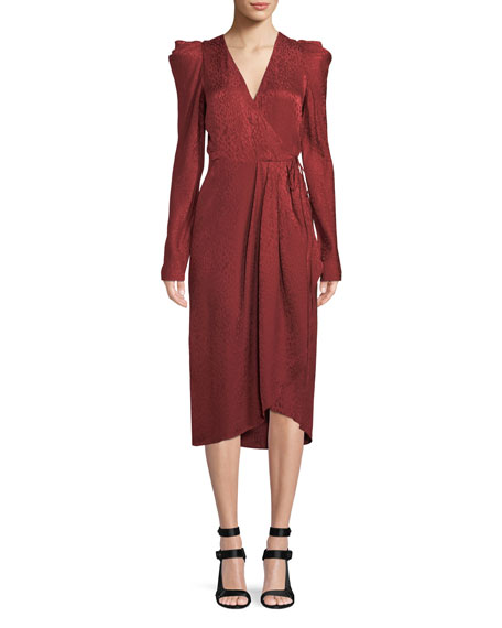A.L.C. Carolina Pleated Long-Sleeve Silk Wrap Dress