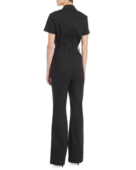 Rivington Short-Sleeve Button-Front Belted Flared-Leg Jumpsuit