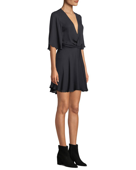 Ava Twist-Front Silk Mini Dress