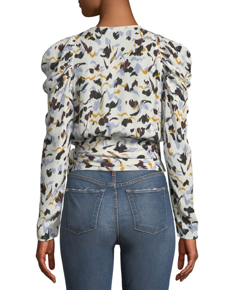 Tessa Printed Silk Long-Sleeve Wrap Top