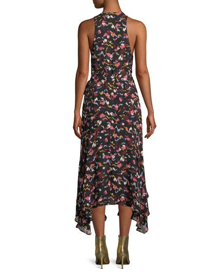 Roslyn Hearts Silk Sleeveless Midi Dress