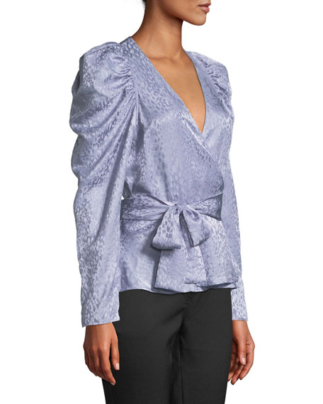 Palermo Silk Long-Sleeve Wrap Top