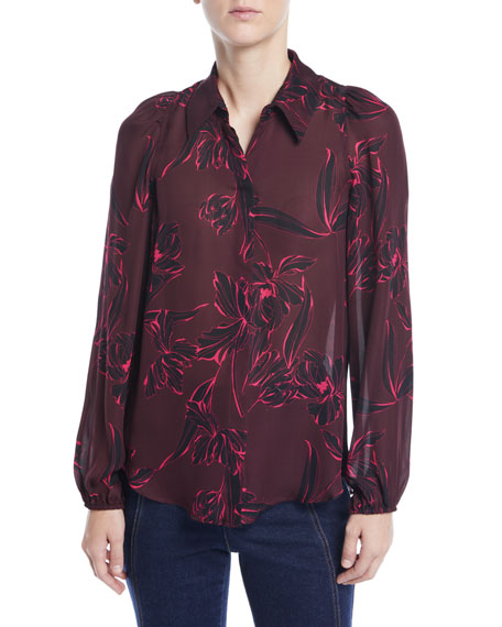 A.L.C. Lori Floral-Print Silk Long-Sleeve Top